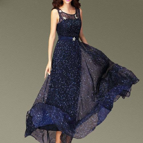 shopbazar shopping mall — [grzxy6601709]Starry Night Rhinestones High Waist Flowy Sleeveless Maxi Dress