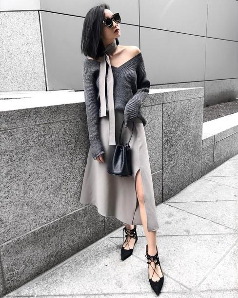 skirt black flats black bag tumblr midi skirt asymmetrical asymmetrical skirt grey skirt slit skirt flats pointed toe flats sweater grey sweater v neck bag