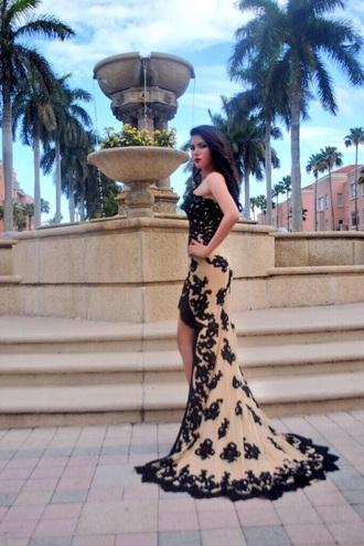 dress prom high low lace tan black