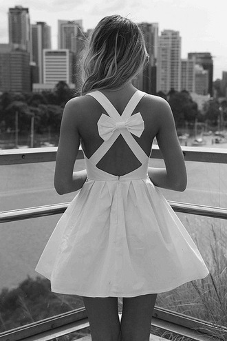 dress white dress bow in back