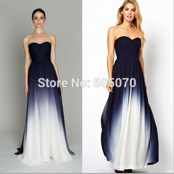 New Arrival Gradient Chiffon Prom Dress Evening Dress Strapless with ...