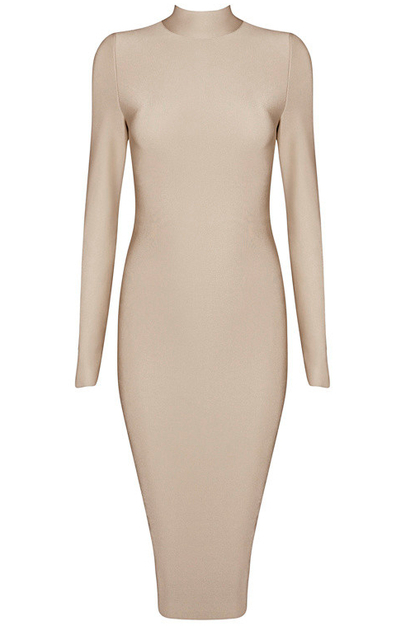Long Sleeve High Neck Midi Bandage Dress Nude