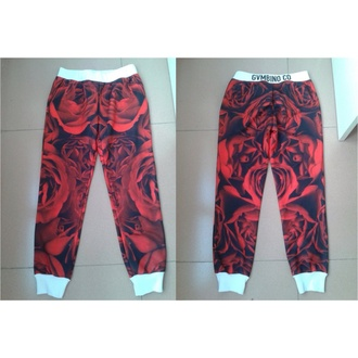 rose joggers dope streetwear exclusive sweatpants