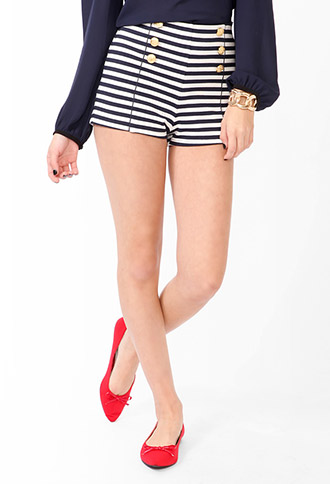 Striped Matelot Shorts | FOREVER21 - 2045102465