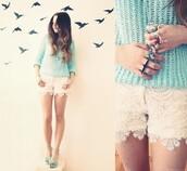 shorts,white shorts,lace shorts,white,clothes,sweater,white lace shorts,lace,jumper,knitted sweater,aqua