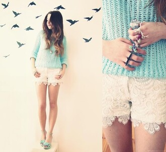 shorts white shorts lace shorts white clothes sweater white lace shorts lace jumper knitted sweater aqua