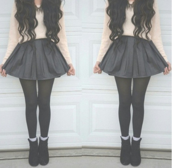 stockings skirt feet black leggings shirt jewels black cute
