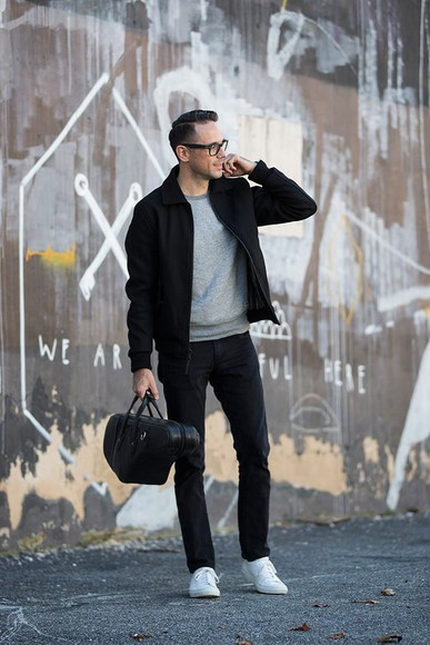 blogger jumper bag menswear jeans he spoke style jacket
