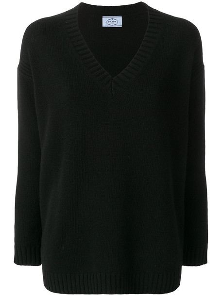 Prada - elbow patch V-neck jumper - women - Cashmere/Virgin Wool - 40, Black, Cashmere/Virgin Wool