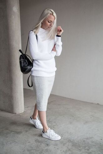 skirt knitted skirt midi skirt grey skirt sweater white white sweater backpack black backpack sneakers low top sneakers white sneakers adidas adidas shoes stan smith fall outfits back to school