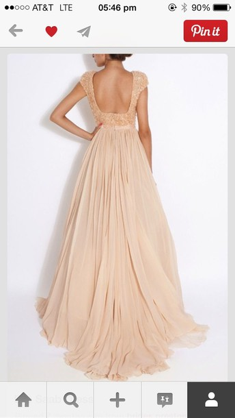 dress, long prom dress, long dress, beige, backless, pastel, prom ...