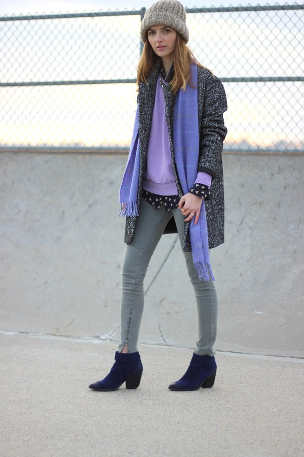 jess style rules sweater jeans shoes coat blouse jewels scarf