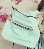bag,mint,kawaii,backpack,mochilla,spain,funny,preppy,zip,studs