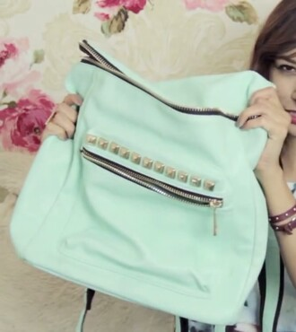 bag mint kawaii backpack mochilla spain funny preppy zip studs