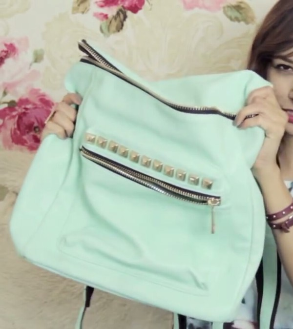 bag mint mint kawaii backpack mochilla bag spain funny preppy zip studs