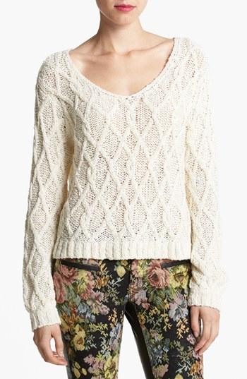 Tildon Lattice Knit Crop Sweater | Nordstrom