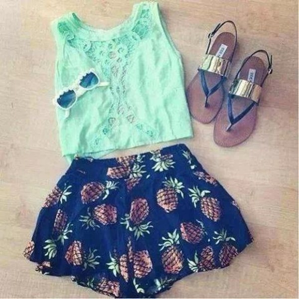 shorts blouse shoes pineapple print