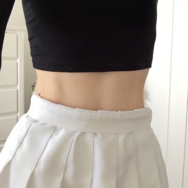 Plain High Waist Pleated Skirt with Side Zipper