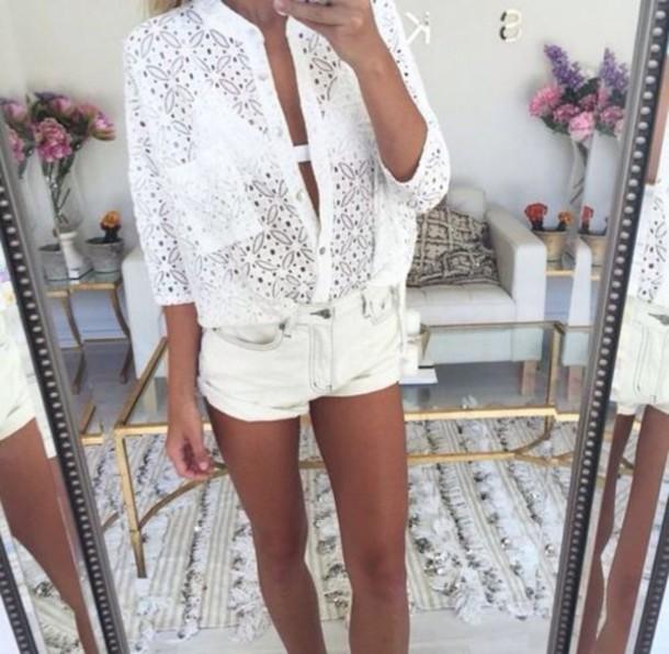 blouse white lace white blouse see through