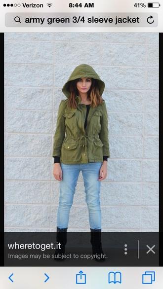 jacket army green 3/4 sleeve short jacket