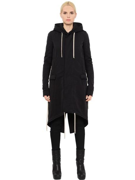 RICK OWENS Drkshdw Hooded Cotton Parka Jacket in black