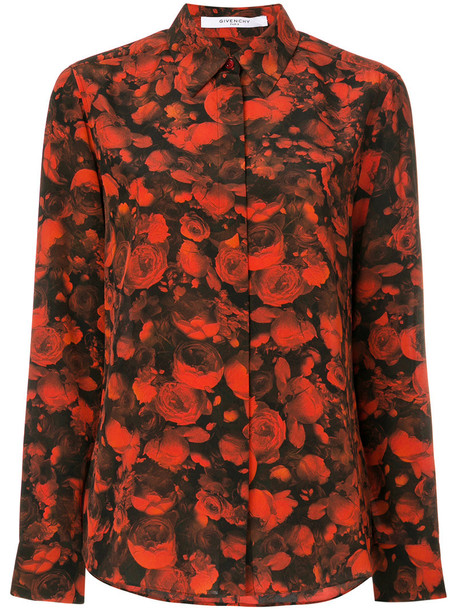 Givenchy - floral printed shirt - women - Silk - 38, Red, Silk