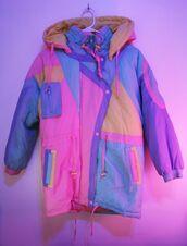 jacket,windbreaker,colorful patterns,swimwear,sweater,colorful,90s style,coat,jewels,colorblock,fashion,style,90s coat,retro,pastel