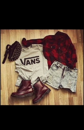 bag red studs style vans doc. martens boots red flannel shirt edgy shorts acid wash studded bag jacket shoes t-shirt