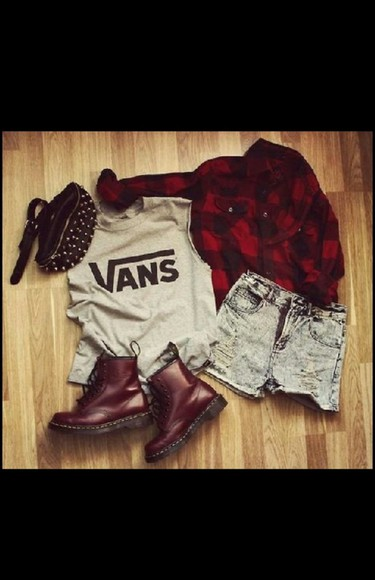 shorts acid wash shoes vans jacket t-shirt bag red studs style doc. martens boots red flannel shirt edgy studded bag