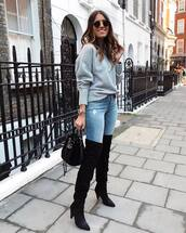 sweater,knitted sweater,oversized sweater,turtleneck sweater,thigh high boots,suede boots,mid heel boots,sunglasses,handbag,jeans,skinny jeans