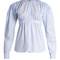 Sailor-collar smocked oxford-cotton blouse