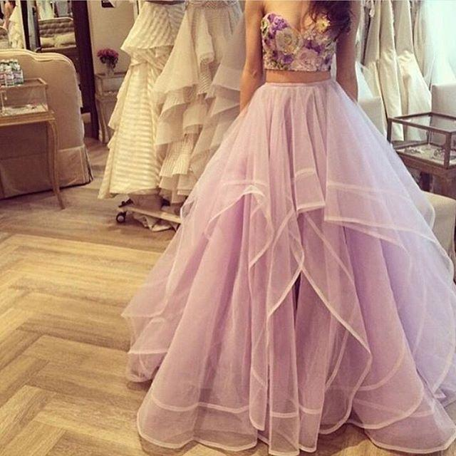 Two Pieces Evening Celebrity Dress Tulle Layers Pageant Formal Party Prom Gown