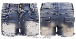 LADIES DISTRESSED DENIM SHORTS STUDDED WASHED DENIM WOMENS HOTPANTS 6-14 | eBay