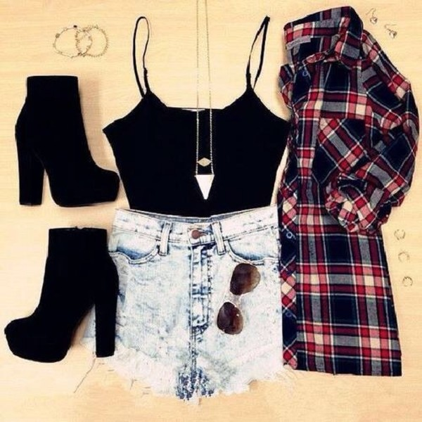 shorts shirt tank top sunglasses shoes blouse jewels acid wash denim shorts jacket blue red summer outfits high heels black heels boots top plaid shirt camisole chain flannel plaid cardigan floral talons suede boots heel boots socks sheer flowy t-shirt