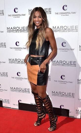 skirt top sandals ciara mini skirt leather leather skirt gladiators knee high gladiator sandals