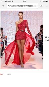 dress,red dresa zuhairmurad hotdress coctaildress