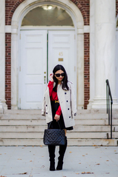fastfood&fastfashion,blogger,top,coat,belt,skirt,bag,dress,shoes,chanel,chanel bag,red blouse,trench coat,boots,winter outfits