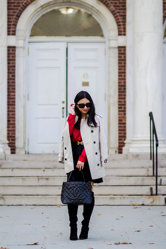 fastfood&fastfashion blogger top coat belt skirt bag dress shoes chanel chanel bag red blouse trench coat boots winter outfits