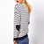 Blue White Striped Heart Elbow Patch Sweater - Sheinside.com