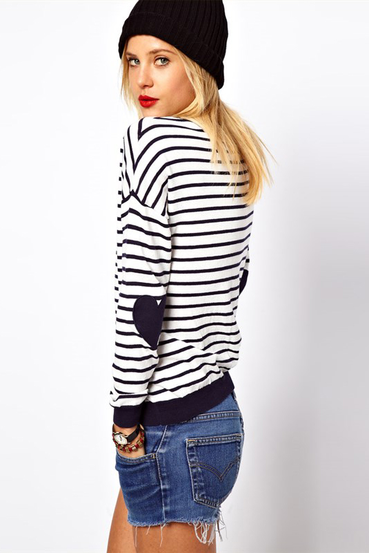 Blue White Striped Heart Elbow Patch Sweater - Sheinside.com