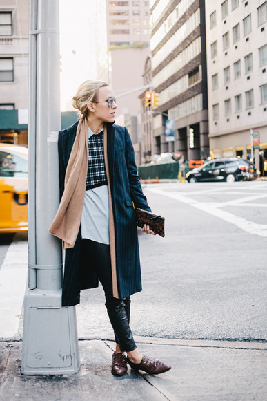 scarf blouse blogger fall outfits clutch damsel in dior checkered