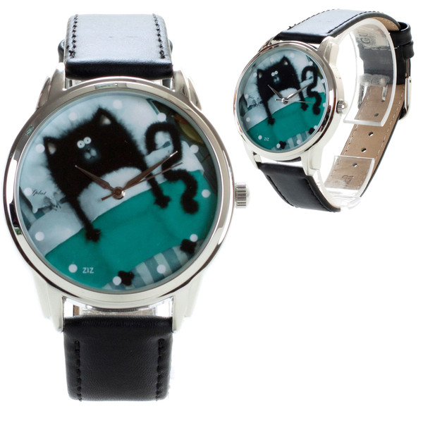 jewels blue black cat cats watch watch ziz watch ziziztime