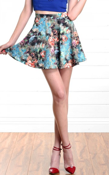 Blue Multi Floral Skater Skirt and Shop Skirts at MakeMeChic.com