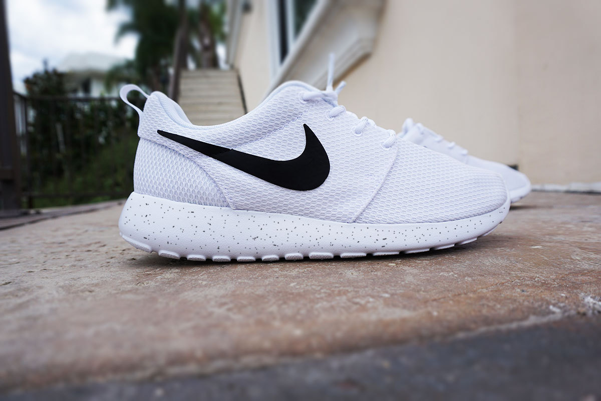 9ae7e3c7d569b Nike Roshe Run, Womens custom nike roshe, Minimalistic black and white  design, black nike swoosh with black speckles, all white shoe