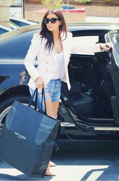 kim kardashian fashion style jacket yves saint laurent