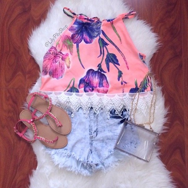 acid wash high waisted shorts halter top halter neck top pink halter floral floral tank top tank top crop tops lace acid wash acid wash shorts sandals pink sandals transparent  bag clear purse