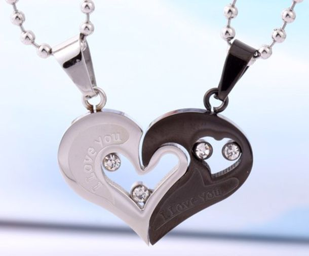 jewels, connecting hearts pendants, couples christmas gifts, xmas ...