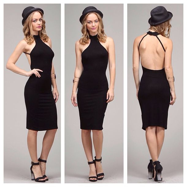 Dress: midi little black dress black bodycon wear shop ...