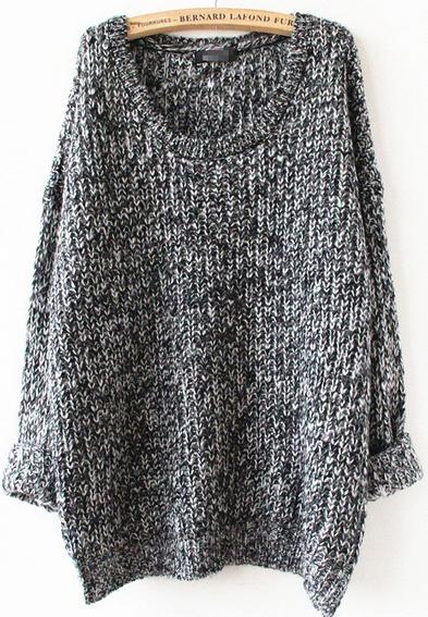 Grey long sleeve loose sweater