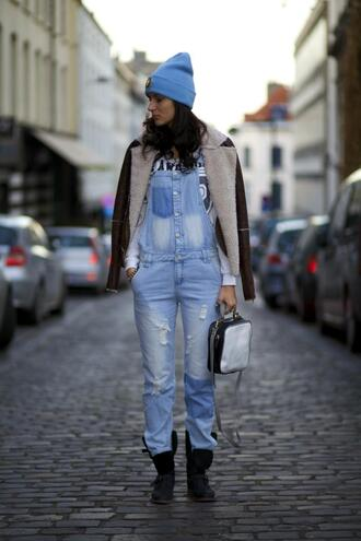 bag blogger beanie light blue from brussels with love denim overalls ripped shearling jacket